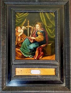 SAINT-BRIGITTE-OIL-ON-COPPER-OLD-FRAME-MARKETTED-ITALY-FLANDERS-XVII-XVIII