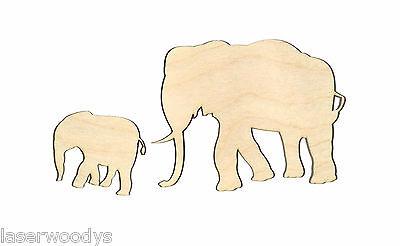 Mother & Baby Elephant Unfinished Wood Shapes MB4123 Lindahl Woodcrafts