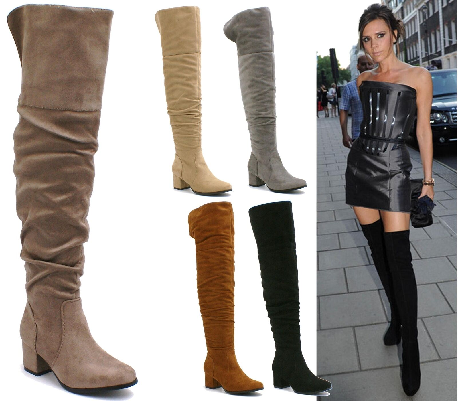 LADIES WOMENS OVER THE KNEE THIGH HIGH MID LOW HEEL FOLD OVER LONG BOOTS SHOES