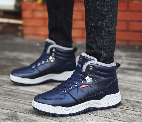 Men Winter Cotton Lined Boots Warm Thicken Large Size Waterproof High Top shoes