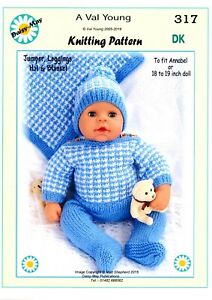 """DOLLS KNITTING PATTERN no 303 for //ANNABELL 18/""""//19/"""" doll by Daisy-May."""