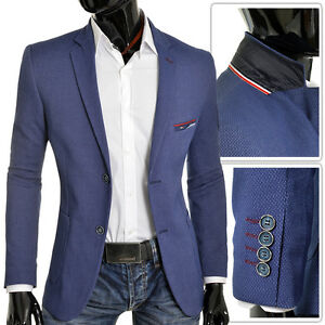 BLUE-NAVY-Men-Blazer-Casual-Look-Slim-Fit-Buttons-Quality-Red-Finish-FREE-POST