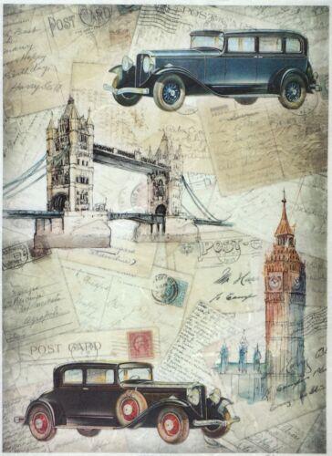 for Decoupage Decopatch Scrapbook Craft Rice paper A//3 Vintage Trip London