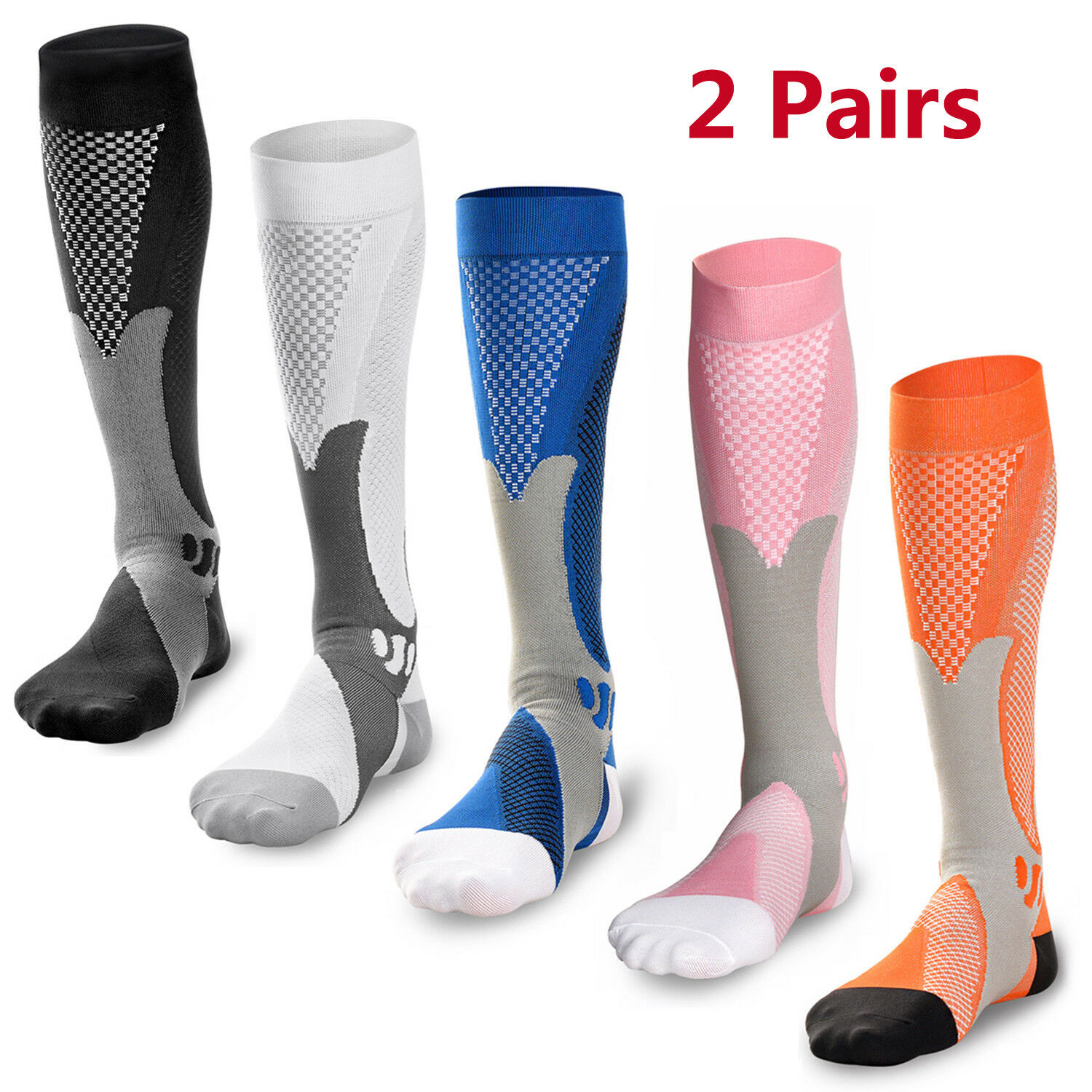 2 Pairs 30-40 mmhg Compression Knee High Stockings Relief Ca
