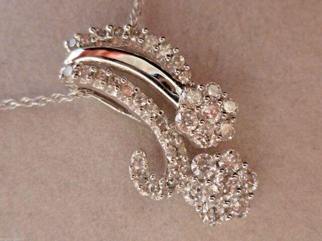 Zales New 1 2ct Diamond Flower Swirl Pendant Necklace