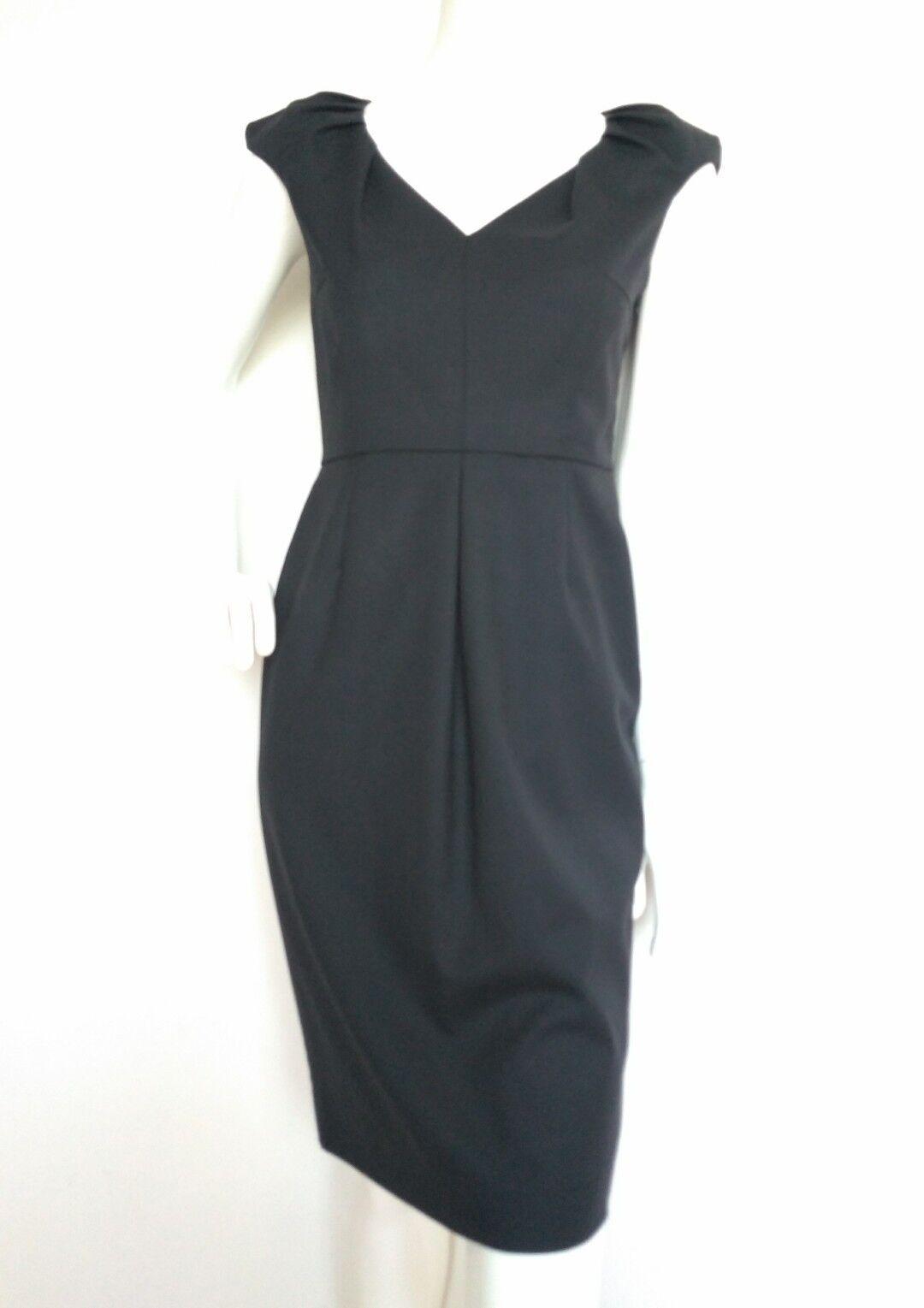 Designer LK BENNETT schwarz Shift Robe Größe 8 -- utilisé une fois -- longu genou laine mélangée