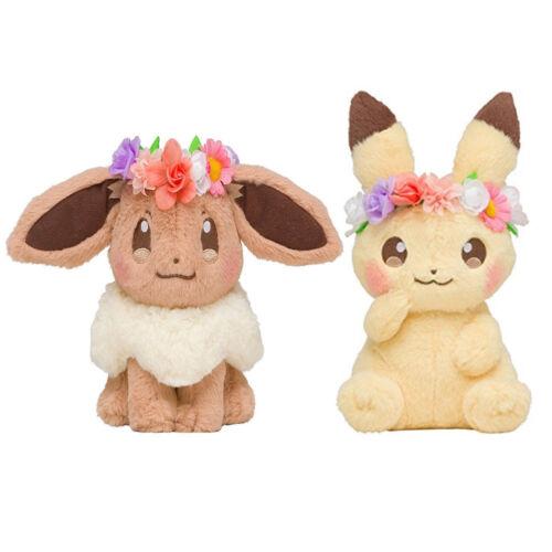 New 2x Japan Pokemon Center Easter 2018 Flower pikachu & Eevee Soft Plush Toys
