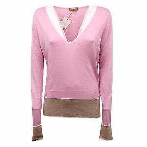 new style d2eb7 06b27 Details about C5422 maglione donna FAY seta/cotone rosa sweater woman