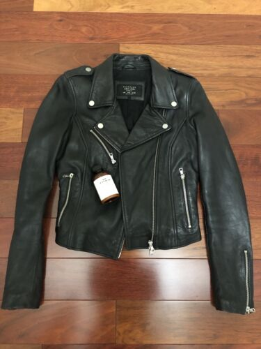 Zara Trafaluc TRF Genuine Leather Biker Moto Jacke