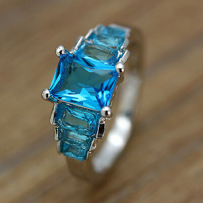 Luxury Brand Jewelry Fashion Silver Ocean Blue Topaz Gemstone Wedding Rings#6-10