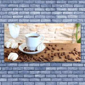 Glasbilder Wandbild Druck auf Glas 140x70 Tasse Kaffee Kaffeebohnen ...