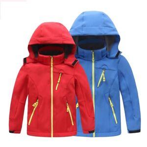 Kids-Boys-Girl-Waterproof-Soft-Shell-Hood-Outdoor-Jacket-Fleece-Warm-Hiking-Coat