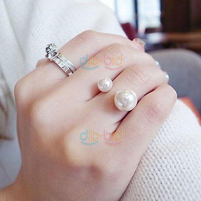 Small Faux Pearl Bib Statement Open Ring Jewelry Accessory
