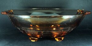 Large-Footed-Peach-Glass-Bowl-Grape-Berry-Pattern-27cm-VTG-FREE-Delivery-UK