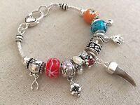 Good Luck Lucky Sliding Charms Bracelet Silver Tone Charms Glass Beads European