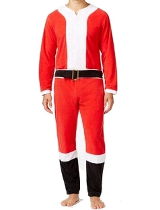 Briefly Stated Santa Claus PJ Sz M Red White One Piece Sleepwear Pajama