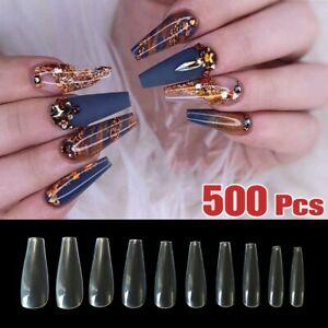 500xClear-Full-Cover-Coffin-Long-Nails-Fake-Nail-Tips-UV-Gel-Acrylic-False-Nails
