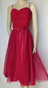 abendkleid 42 44 rosa rot seide tüll hochzeit abschlussall