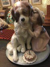 Lladro First Birthday St Bernard Dog W Girl In Box What A Find