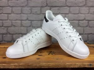 ADIDAS-LADIES-UK-3-5-STAN-SMITH-WHITE-BLACK-SPARKLE-HEEL-LEATHER-TRAINERS