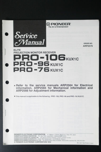 Pioneer Pro 96  76 Original Service Manual  Instruction