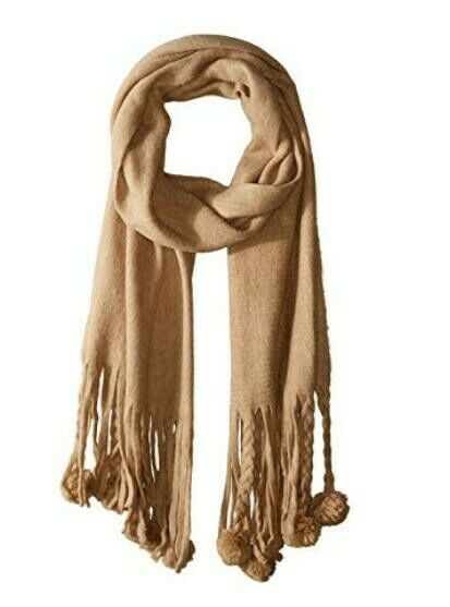BCBGMAXAZRIA Women's Pom Solid Wrap - color Camel