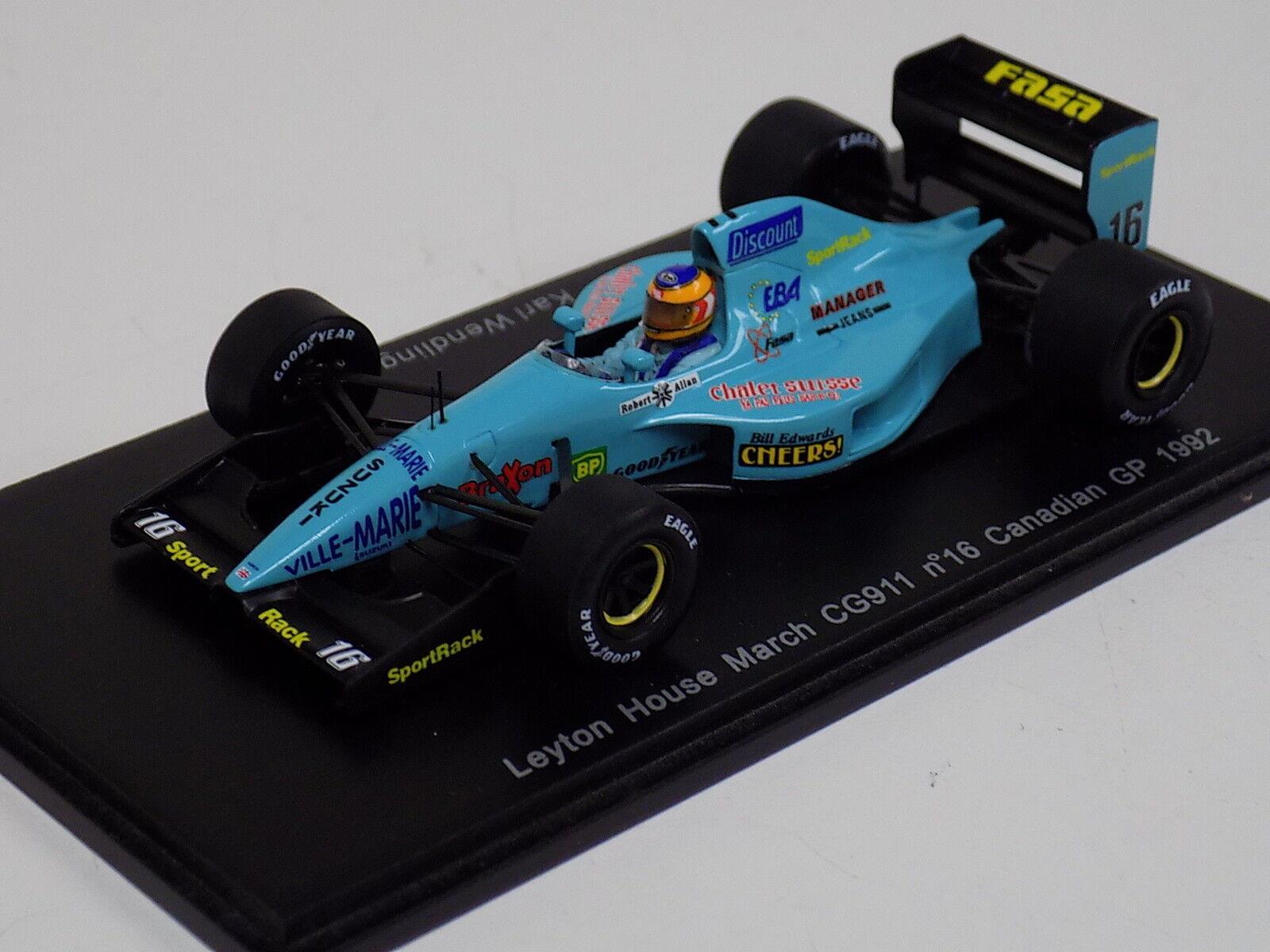 1 43 Spark F1 Formula 1 Leyton House CG911 Car Canadian GP  S1660