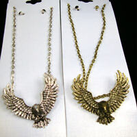 17 Big Wing Eagle Pendant Necklace W Black Crys. Stud Earrings/gold Or Silver