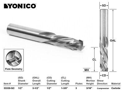 1/2 Durchmesser 3 Schneide Kompression Cnc Fräserwerkzeug - 1/2 Schaft - Yonico