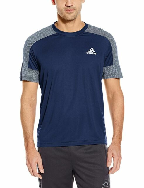 New Adidas MENS Running Workout Training Climacore SS Top Tee Shirt Blue SZ M
