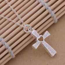 "Cruz de Plata Plateado Corazón Diamante Colgante Collar Regalo Presente iglesia Reino Unido 18"""