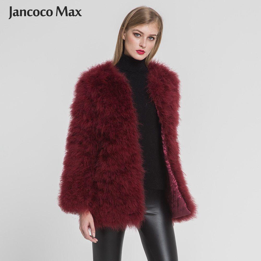 damen Real Ostrich Fur Long Coat Casual Lady Natural Fur Warm Winter Jacket67381