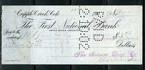 US FIRST NATIONAL BANK OF CRIPPLE CREEK CANCELLED CHECK 11/9/1907 AS SHOWN