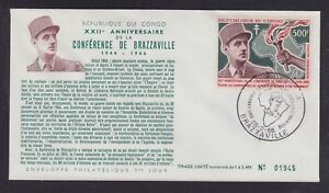CONGO 1966 CHARLES DE GAULLE BRAZZAVILLE CONFERENCE FIRST DAY COVER FDC
