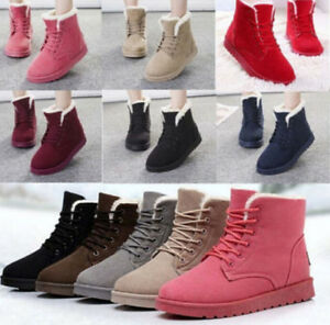 2016 Womens Flat Lace Up Fur Lined Winter Martin Boots Snow Ankle Boots Shoes S