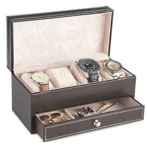 VonHaus-4-Watch-and-Cufflink-Display-Box-with-Drawer-Brown-Faux-Leather