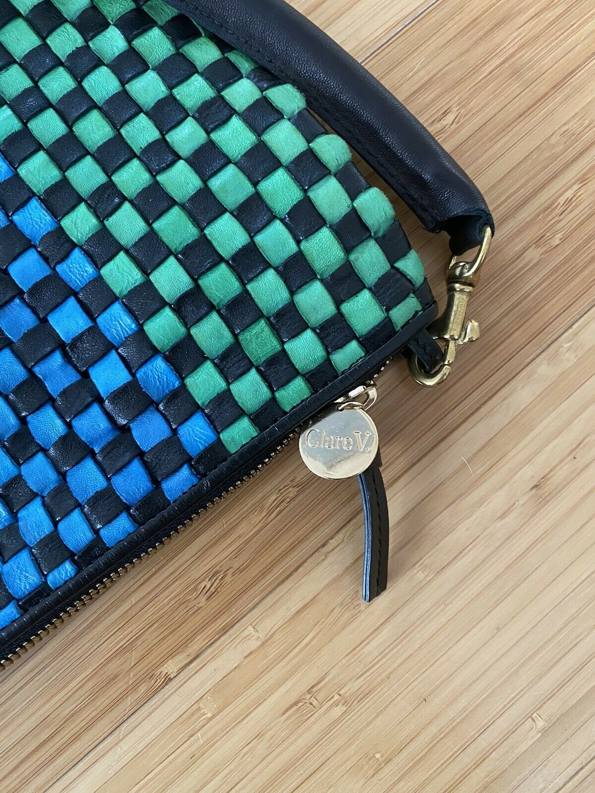 Claire V Woven Leather Clutch Bag - image 2
