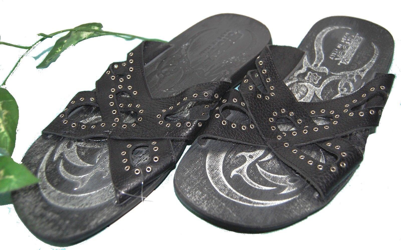 Shoox Black Men's Leather  Flip Flops Sandals shoes Size US 12 EU 45 NEW