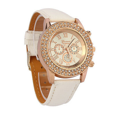 Women Ladies White Crystal Dial Quartz Analog Wrist Watch Leather Bracelet watch