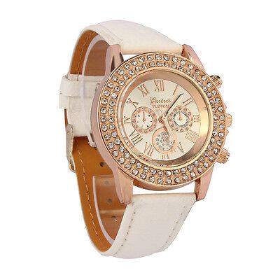 Women Ladies White Crystal Dial Quartz Analog Wrist Watch Leather Bracelet watch