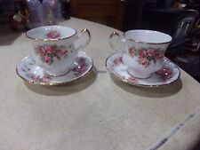2 Paragon Fine Bone China Queens Elizabeth Rose Cups & Saucers Sets Pink & Gold