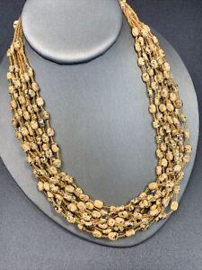 "Signed Esmor vintage multi strand Bohemian tan golden beaded necklace 18- 22"""