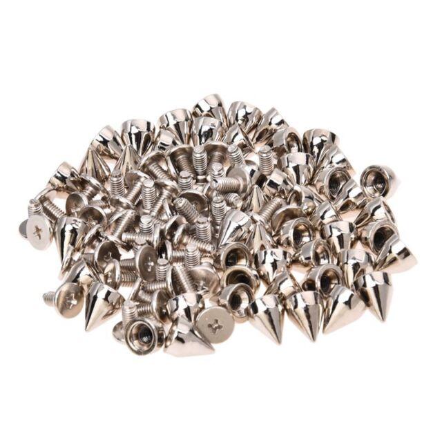 50 x Remaches Conoidales Tornillo Metal para Ropa de Cuero Punk D3L5