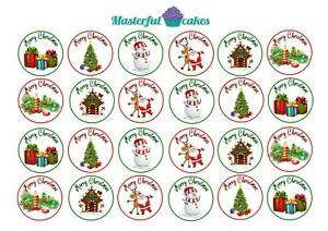 24-x-4cm-Christmas-Edible-CupCake-Toppers-Rice-Wafer-Icing-or-precut-design-15