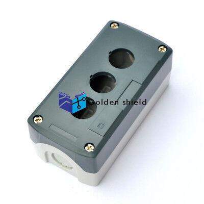 Gray Plastic 22mm Dia 2-Hole Push Button Switch Control Box Case