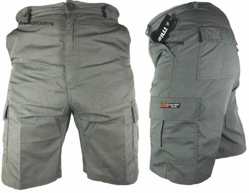 Mens Plain Elasticated Lightweight Shorts Cargo Combat Multi Pocket Cotton M-4XL