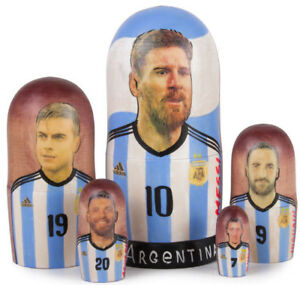 FIFA 2018 Lionel Messi Nesting Dolls World Cup Soccer Hand Painted 5 pcs 7""