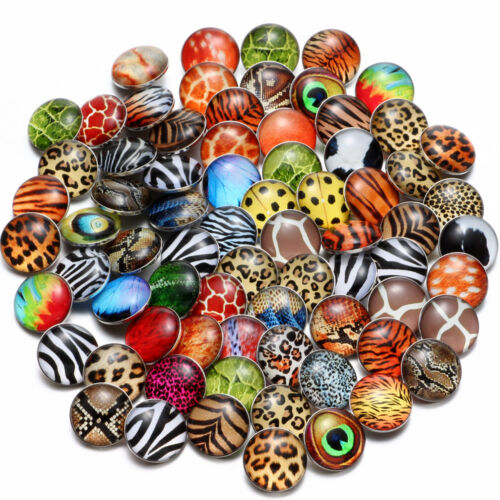 20pcs//lot Multi Pattern 18mm Glass Ginger Snap Button Jewelry DIY Snaps Jewelry