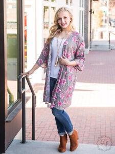 Womens-Kimono-Floral-Top-Size-S-M-Sage-3-4-Sleeve-Southern-Grace