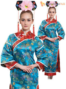 d67b584f10d Details about Ladies Oriental Geisha Costume Adult Japanese Kimono Fancy Dress  Womens Outfit